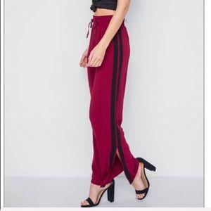Pants - Wide Leg Wine Pants w/Black Trim Side Slit